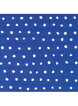 Seven Islands Nani Iro Double Gauze: Pocho Dots White Dots on Blue