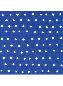 Seven Islands Nani Iro Double Gauze: Pocho Dots White Dots on Blue