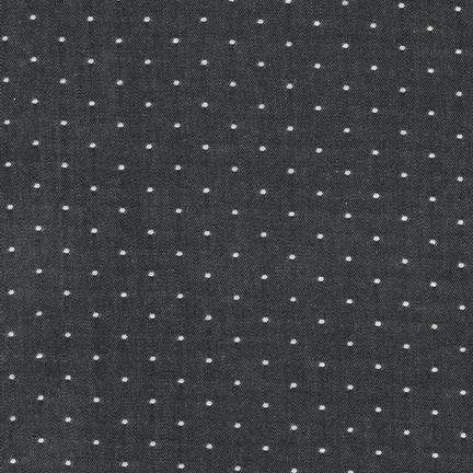 Robert Kaufman Cotton Chambray Dots Black