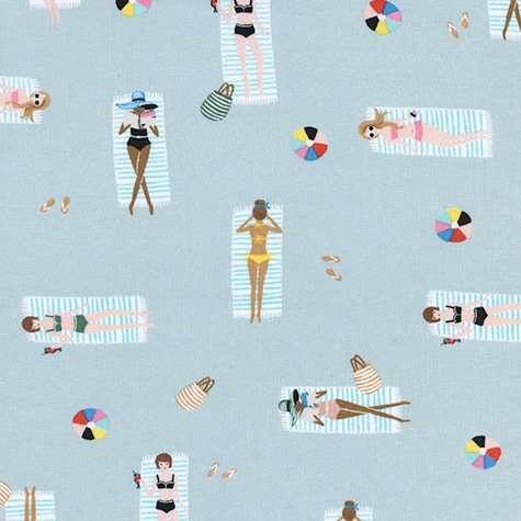 Cotton + Steel Amalfi by Rifle Paper Co. Sun Girls Sky Cotton Rayon Lawn
