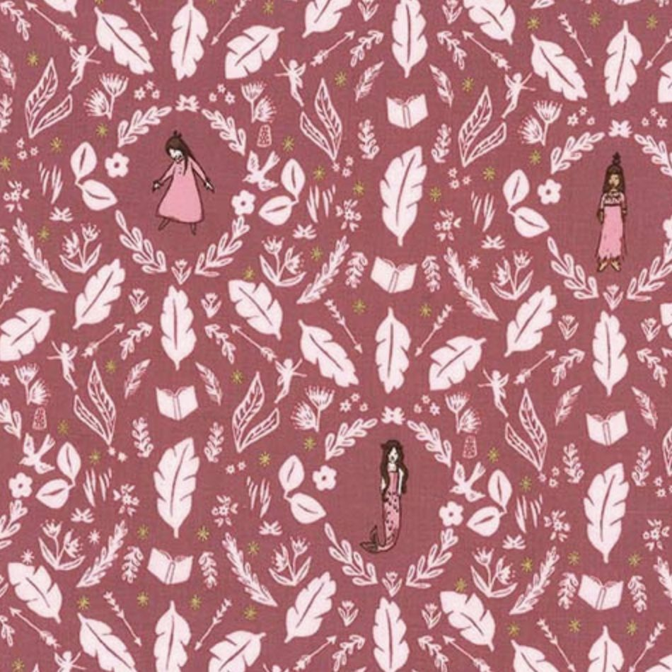 Michael Miller Fabrics Peter Pan by Sarah Jane: Girls Are Much Too Clever<br /> Rose