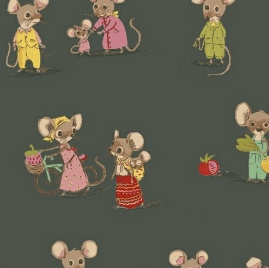 Windham Fabrics Trixie by Heather Ross Market Mice Dark Green