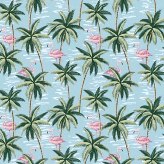 Mini Tropical Flamingos and Palms