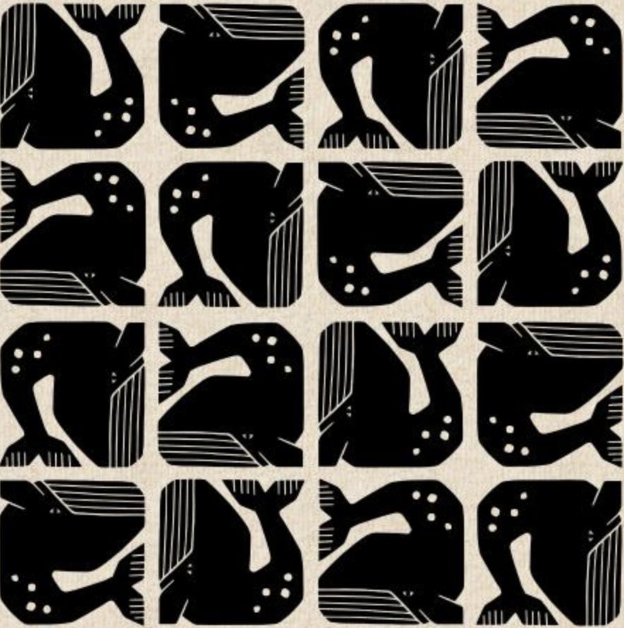 Cotton + Steel By the Seaside by Loes Van Oosten Grumpy Whale Black