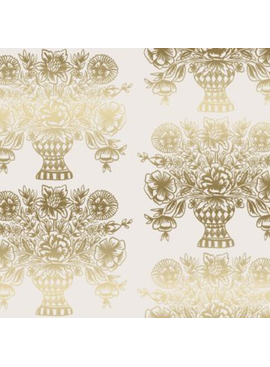 Cotton + Steel Meadow by Rifle Paper Co. Vase Block Print Cream Metallic