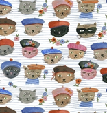 Windham Fabrics Ooh La La by Carolyn Gavin of Ecojot Cats Blue