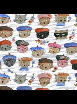 Windham Fabrics Ooh La La by Carolyn Gavin of Ecojot Cats Blue