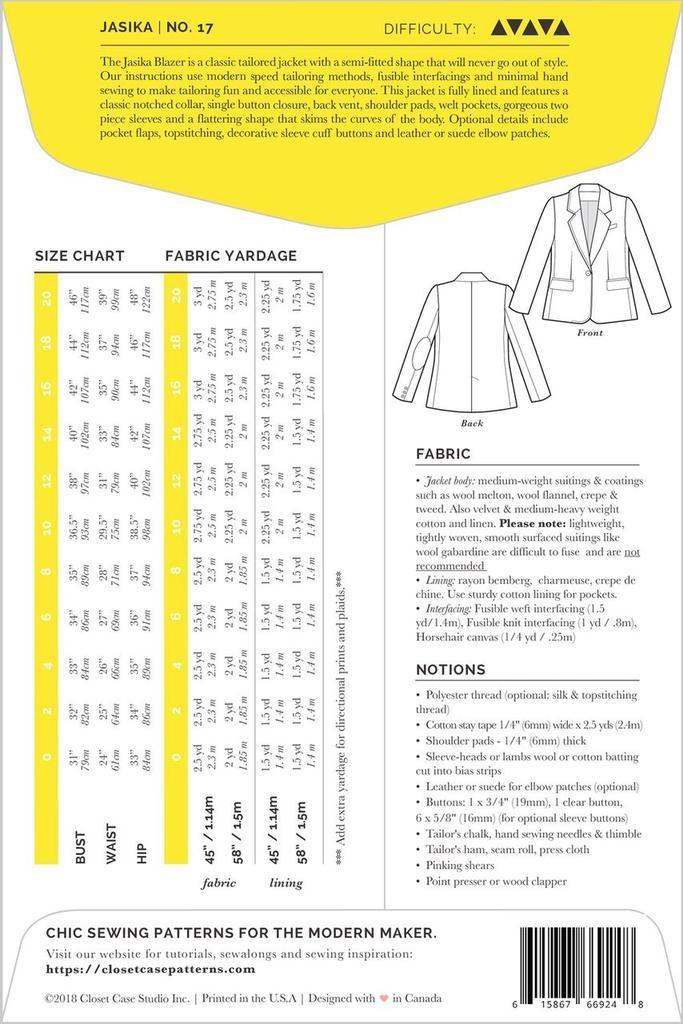 Closet Case Patterns Closet Case Patterns Jasika Blazer