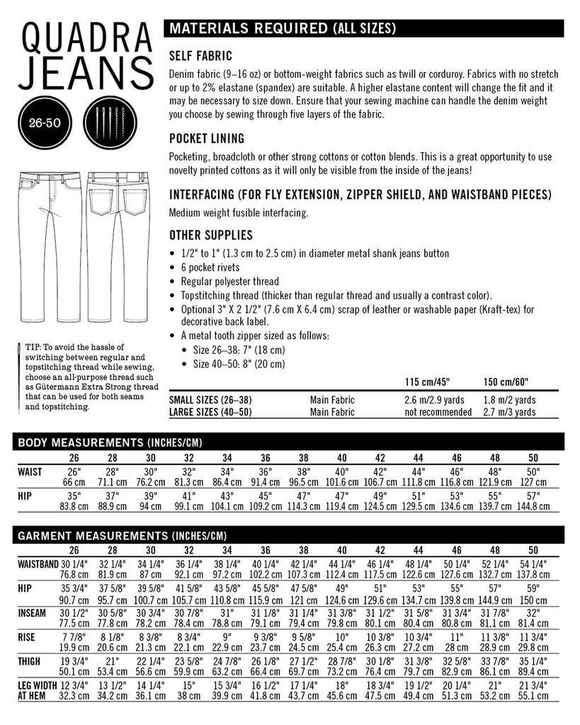 Thread Theory Quadra Jeans pattern