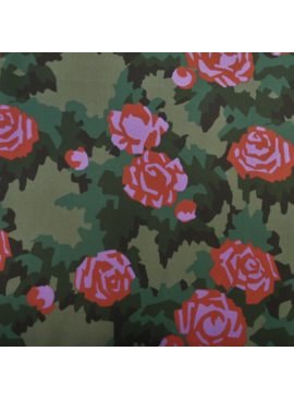 Lady McElroy Combat Blooms Black - 100% Viscose Challis Lawn