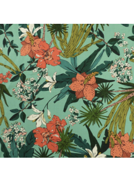 Lady McElroy Flordian Narciso Aqua Viscose Rayon