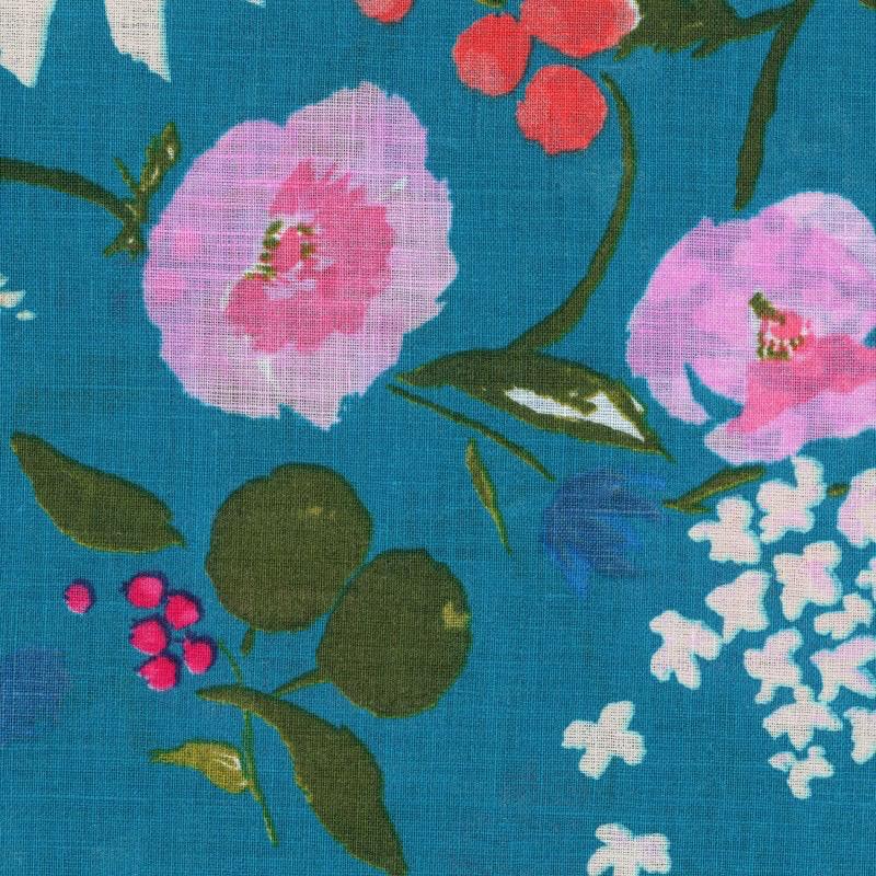 EE Schenck Nani Iro Linen Sheeting: Fuccra Rakuen Turquoise/Pink