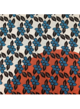 Fabrics USA Inc African Wax Print - Blue Fruit on Orange and White Background