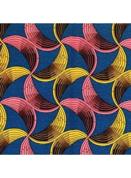 Fabrics USA Inc African Wax Print - Pink and Yellow Half Circle Ribbons on Blue Background