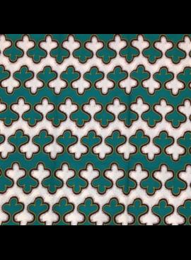 "Fabrics USA Inc African Wax Print - Teal, Green and Cream ""Gingerbread"" Stripes"