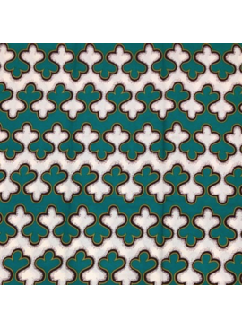 "Fabrics USA Inc Ankara - Teal, Green and Cream ""Gingerbread"" Stripes"
