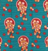 Fabrics USA Inc Ankara - Teal background, Red, Pink, Orange Spilling Coins