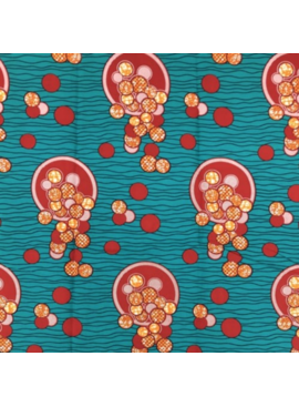 Fabrics USA Inc African Wax Print - Teal background, Red, Pink, Orange Spilling Coins