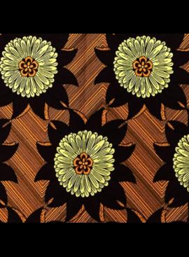 Fabrics USA Inc African Wax Print - Brown Cream Large Sunflowers