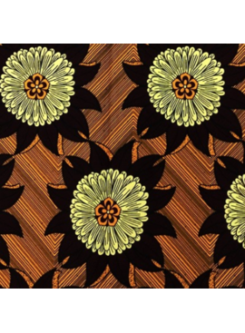 Fabrics USA Inc Ankara - Brown Cream Large Sunflowers