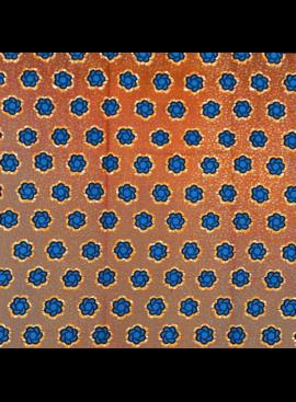 Fabrics USA Inc African Wax Print - Blue Flowers on Brick Orange Background