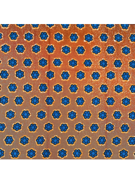 Fabrics USA Inc Ankara - Blue Flowers on Brick Orange Background
