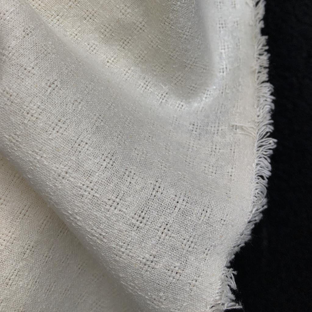 Exotic Silks Checkered Silk Noil Natural White