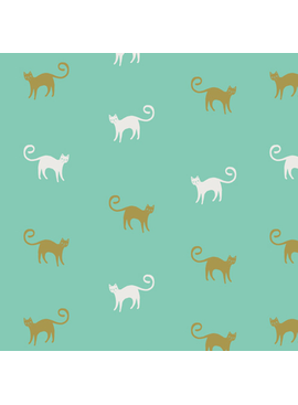 "Art Gallery Feline Good from Oh, Meow designed by Jessica Swift, Aqua background with olive and white cats, 44"" wide 100% premium cotton"