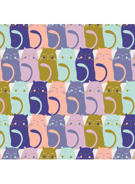"Art Gallery Catitude in Slumberfrom Oh, Meow designed by Jessica Swift, Aqua, lavendar, pink, olive and Purple cats sitting in rows, 44"" wide 100% premium cotton"