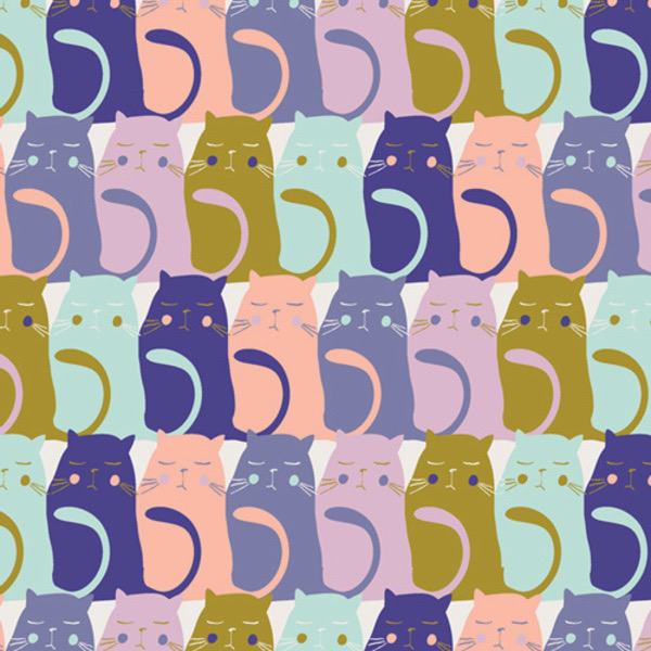 """Art Gallery Catitude in Slumberfrom Oh, Meow designed by Jessica Swift, Aqua, lavendar, pink, olive and Purple cats sitting in rows, 44"""" wide 100% premium cotton"""