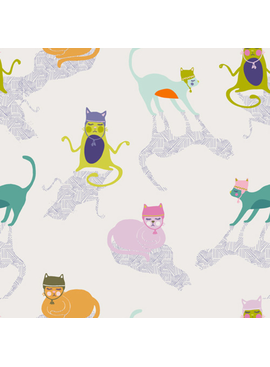 "Art Gallery Kitten Around from Oh, Meow designed by Jessica Swift, white Background with cats in hats and shadows 44"" wide 100% premium cotton"