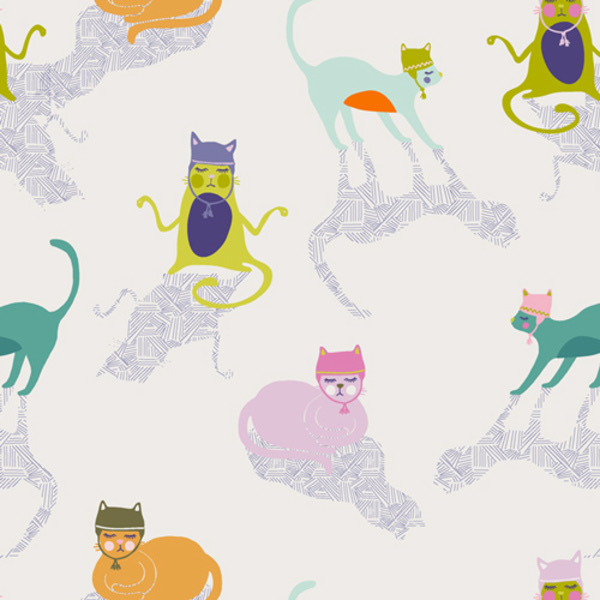 """Art Gallery Kitten Around from Oh, Meow designed by Jessica Swift, white Background with cats in hats and shadows 44"""" wide 100% premium cotton"""