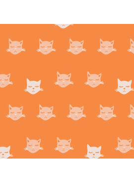 "Art Gallery Cat Nap from Oh, Meow designed by Jessica Swift, Orange Background with light sleeping cat faces, 44"" wide 100% premium cotton"