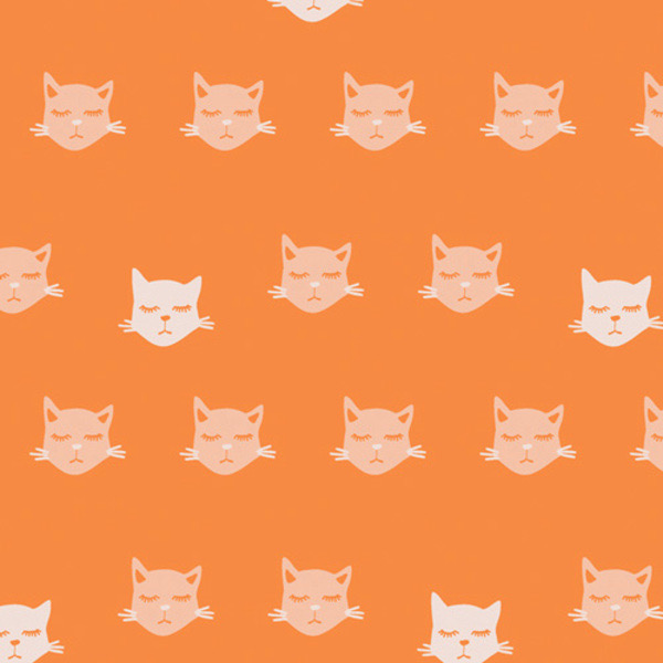 """Art Gallery Cat Nap from Oh, Meow designed by Jessica Swift, Orange Background with light sleeping cat faces, 44"""" wide 100% premium cotton"""