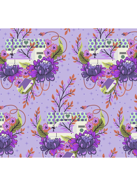 "Freespirit Homemade by Tula Pink - Petal to the Metal - Night - Floral Sewing Machine44"" 100% Cotton"