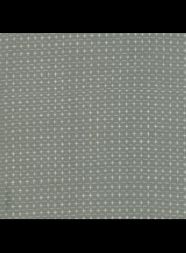 "Moda Boro Foundations Dovetail Warm grey with natural ""plus"" stitches 100% Cotton 44"" wide"