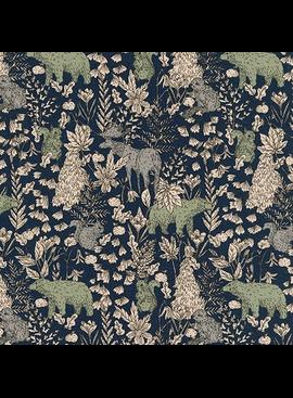 Robert Kaufman Cotton Flax Prints Forest Scene Evening