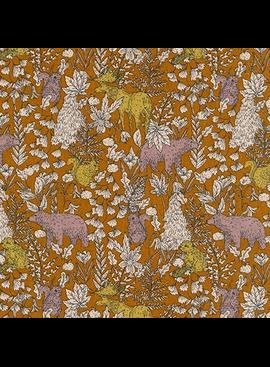 Robert Kaufman Cotton Flax Prints Forest Scene Ochre