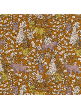Robert Kaufman Sevenberry Cotton Flax Prints Forest Scene Ochre