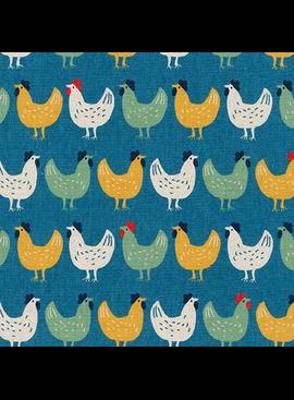 Robert Kaufman Sevenberry Cotton Flax Prints Blue Chicken