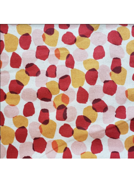 Kokka Egg Press Linen Canvas by Kokka: Dots Red, Ochre and Pink on Natural