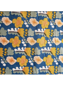Kokka Egg Press Poplin by Kokka: Flowers Mustard and Orange on Blue