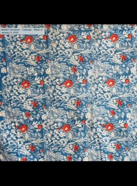 Kokka Egg Press Poplin by Kokka: Sketchy Flowers Red and White on Blue