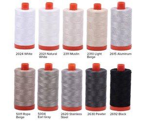 Aurifil Cotton Mako 50wt Thread 2 Large Spools Aluminum Stainless Steel 2615+2620