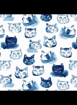 Dear Stella Blue Crush by August Wren for Dear Stella Cat Expressions White