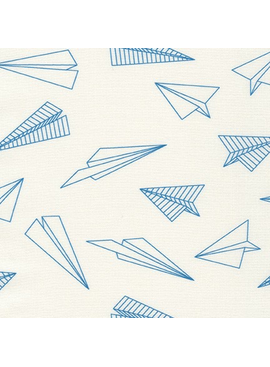 Robert Kaufman On the Lighter Side Blue Paper Airplanes