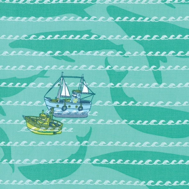 Moda Pacific Wanderings by Mara Penny Ships and Whales Sea Green
