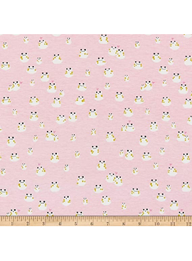 Cotton + Steel Front Yard by Cotton + Steel: Frogs Pink Knit