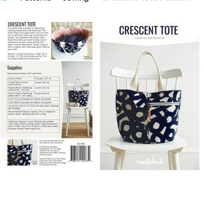 Noodlehead Crescent Tote Pattern by Noodlehead