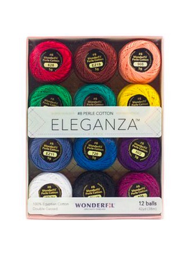 WonderFil Eleganza Pack Kaleidoscope Colorway Perle Cotton Size 8 12pk